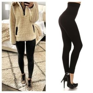 Tummy Control Super High Rise Black Thick Leggings
